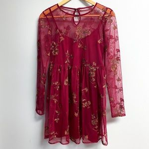 Red Floral Embroidery Dress